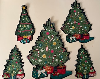 5 Decorated Christmas Trees - Iron On Fabric Appliques