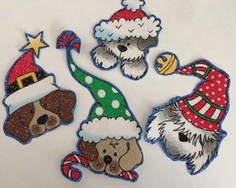 Little Christmas Puppy Dog Faces - Iron On Fabric Appliques