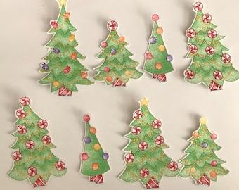 Tiny Christmas Trees - Iron On Fabric Appliques - Christmas