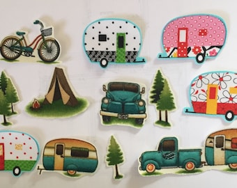 Let's Go Camping - Summer Vacation - Iron On Fabric Appliqués