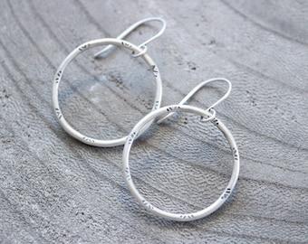 Stamped Sterling Silver Dangle Hoop Earrings