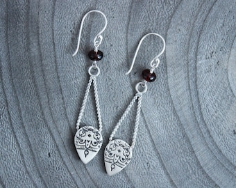 Long Silver Mandala Garnet Drop Earrings
