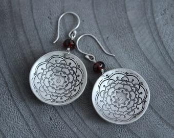 Silver Mandala Circle Garnet Earrings