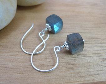 Labradorite Earrings Blue Flash Petite Earrings Sterling Silver Gemstone Cube Dangle Earrings Minimalist Earrings - Stormy