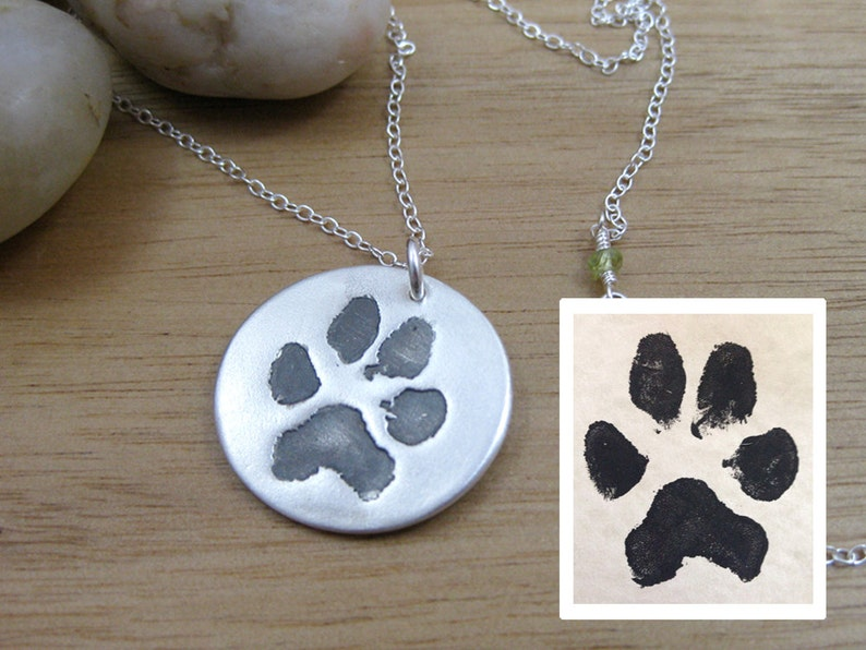 66b7fdcef Personalized Silver Paw Print Necklace | Etsy
