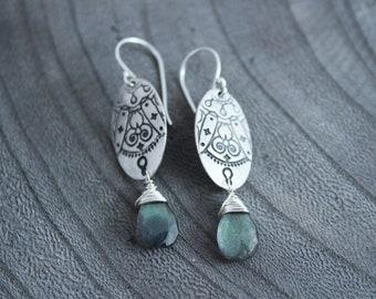 Silver Mandala Labradorite Earrings