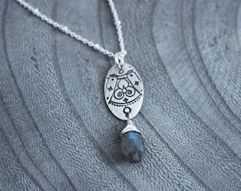 Silver Mandala Labradorite Necklace