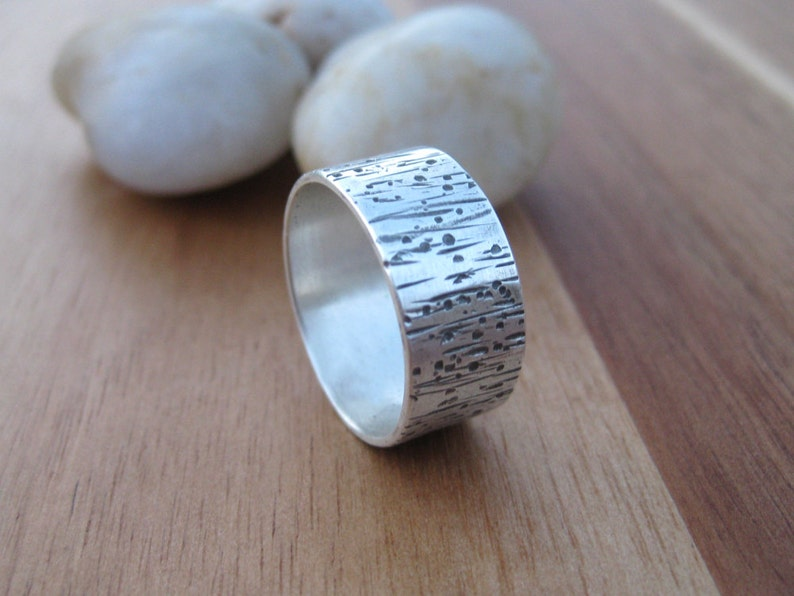 Sterling Silver Tree Bark Band Ring