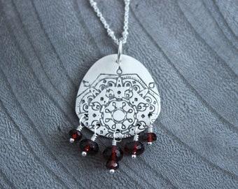 Silver Mandala Garnet Necklace