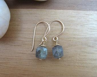 Gold Labradorite Earrings Gold Filled Blue Flash Petite Earrings Gemstone Cube Dangle Earrings Minimalist Jewelry