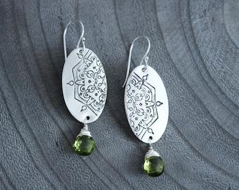 Mandala Peridot Silver Dangle Earrings