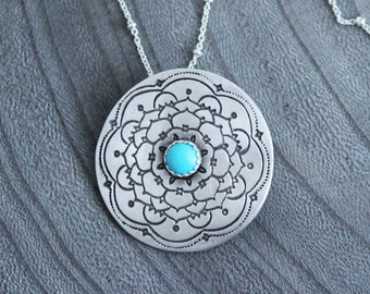 Silver Mandala American Turquoise Necklace