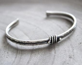 Sterling Silver Rustic Knot Cuff Bracelet