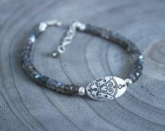 Silver Mandala Labradorite Bracelet