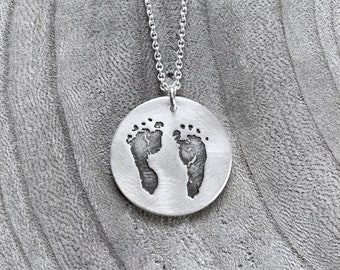 Baby Footprints New Mom Recycled Silver Necklace