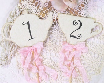 Tea Party Centerpiece Picks Table Numbers with Ribbons - Set of 4 - Alice Bridal Shower Mad Tea Party Teapot Teacup Floral Picks unbirthday