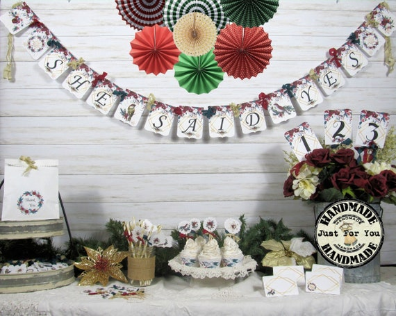 Winter Bridal Shower Decorations Package Banner Garland Etsy