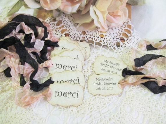 80d182e0c3b French Merci Thank You Favor Tags w ribbons Parchment Set