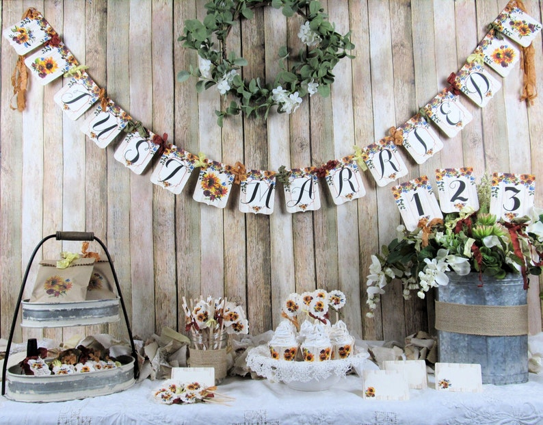 Sunflowers Rustic Wedding Shower Decorations Package Banner Etsy