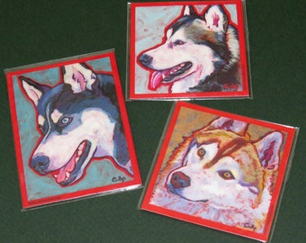 HUSKY Dog Art Magnets - set of 3 - by Lynn Culp 41ba0588da