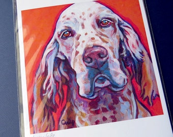 ENGLISH SETTER Dog 8x10 Signed Art Print from Painting by Lynn Culp