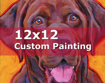 12x12 CUSTOM PAINTING Original Dog Portrait Art Painting by Lynn Culp