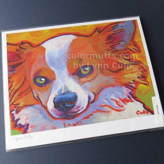PAPILLON MARTINI White Red Dog Art PRINT VERN Painting
