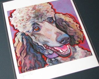 Cafe au Lait Standard POODLE Dog 8x10 Signed Art Print from Painting by Lynn Culp