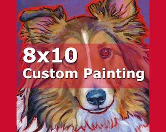 8x10 CUSTOM PAINTING Dog or Cat Art by Lynn Culp