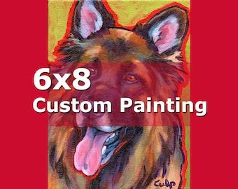 6x8 CUSTOM PAINTING Original Dog Art by Lynn Culp