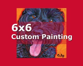 6x6 CUSTOM PAINTING Original Dog Art by Lynn Culp