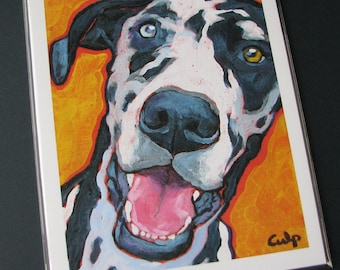 Harlequin GREAT DANE Dog 8x10 Signed Art Print from Painting by Lynn Culp