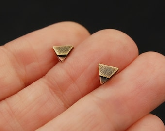 Copper Brass and Sterling Silver Tiny Triangle Minimalist Mixed Metal Stud Earrings