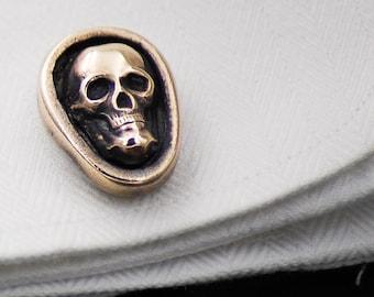 Skull Head Cufflinks Antique Sterling Silver Goth Inspired Cuff Links