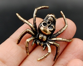 Handmade Spooky Spider Pin with Human Skull, Unique Brooch Perfect for Halloween