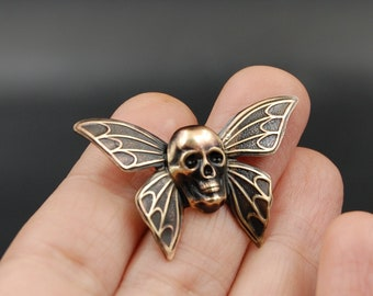 Handmade Spooky Butterfly Pin with Human Skull, Unique Brooch Perfect for Halloween