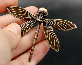 Handmade Flying Skull Pin with Dragonfly Body, Unique Brooch Perfect for Halloween