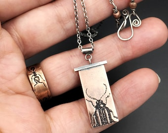 Customizable, Handmade Beetle Necklace in Sterling Silver & Copper, Beetle Jewelry, Bug Jewelry, Insect Jewelry, Beetle Pendant