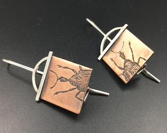 Handmade Weevil Earrings in Copper & Sterling Silver, Handmade Insect Jewelry, Weevil Jewelry, Insect Jewellery, Entomology Gift, Geek Gift