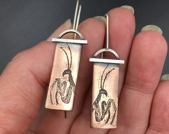 Unique Sterling Silver and Antiqued Copper Praying Mantis Earrings for Insect Jewelry Lovers
