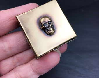 Brass Pill Box with Your Choice of Skull or Moon with Stars!