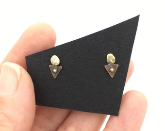 Sterling Silver, Brass and Copper Triangle and Golden Nugget Primitive Minimalist Stud Earrings