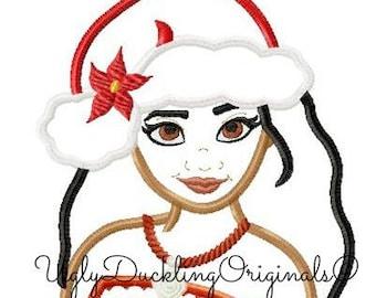 db21091e8f5f0 Moana Santa Hat Christmas Applique Design Original Artwork by UDOAppliques™  Machine Embroidery Digital Download