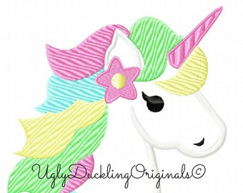 Unicorn Applique Design Original Artwork By UDOAppliques Machine Embroidery Digital Download Whimsical Unicorn Rainbow Unicorn Embroidery