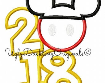 Mickey 2018 Numbers New Year Applique Design Original Artwork By UDOAppliques™ Machine Embroidery Digital Download Mickey Applique