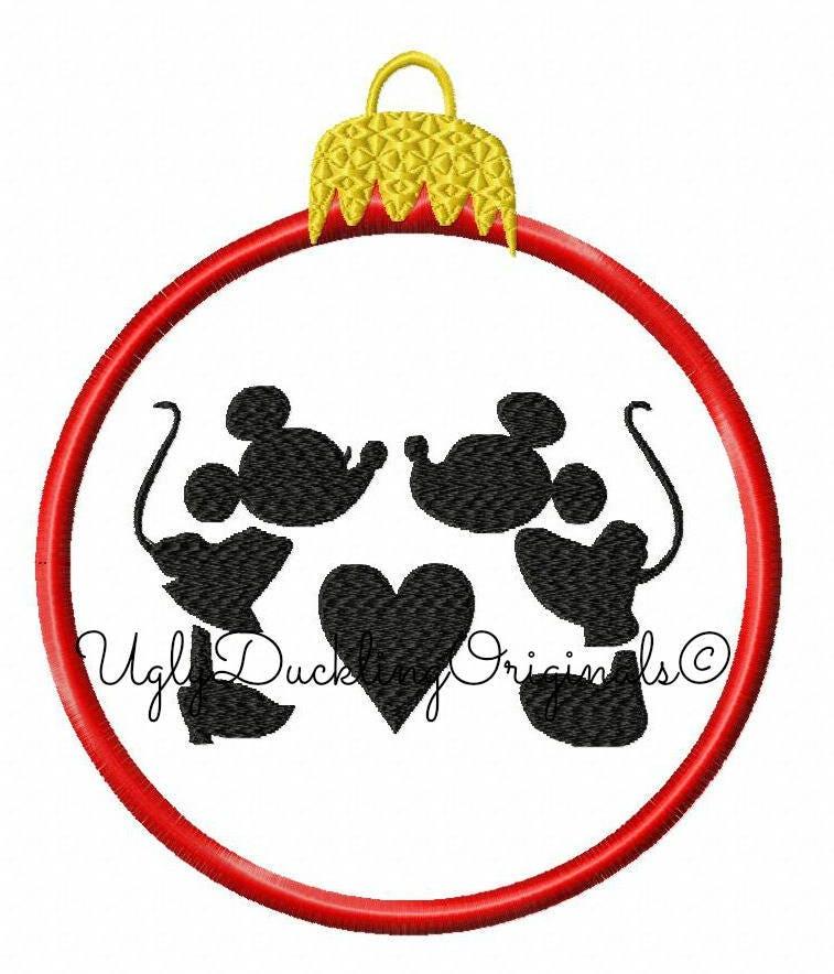 Mickey Minnie Kiss Ornament Applique Design Original Artwork | Etsy