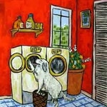 Great Pyrenees Doing the Laundry Dog Art PRint