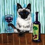 cat art - Siamese Cat - art - tile - ceramic coaster - gift - wine , wine art , wine print on tile, cat art, folk art, cat gifts, gift