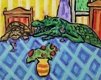 Alligator Dj animal reptile ceramic art tile coaster gift