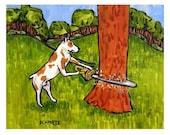 Pit Bull Terrier Lumberjack Dog Art Print